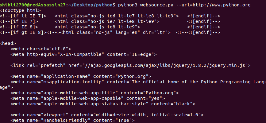 Python Program to fetch the source code of a webpage